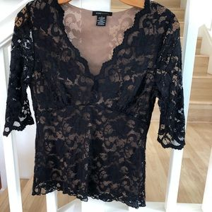 BCBGMAXAZRIA Black lace nude underlay top